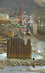 Market Street Bridge construction, Williamsport, PA. Piling steel in river.