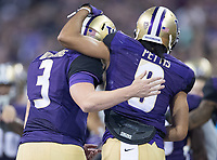 Dante Pettis and Jake Browning celebrate another touchdown pitch and catch.