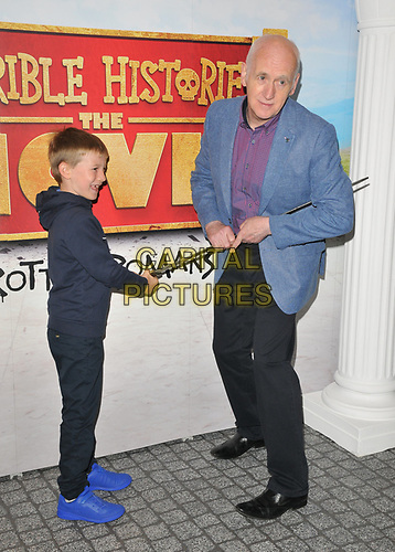 "guest and Terry Deary at the ""Horrible Histories: The Movie - Rotten Romans"" world film premiere, Odeon Luxe Leicester Square, Leicester Square, London, England, UK, on Sunday 07th July 2019.<br /> CAP/CAN<br /> ©CAN/Capital Pictures"
