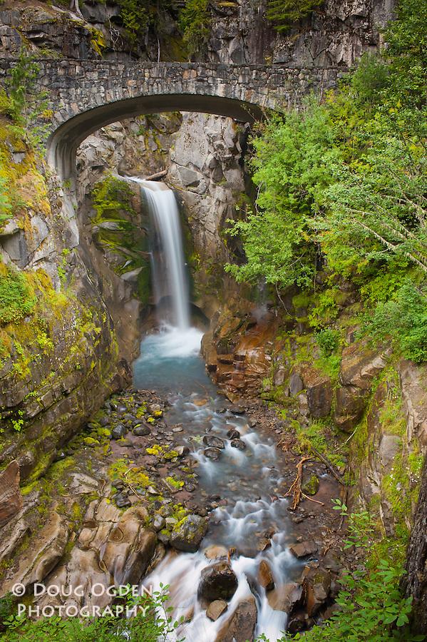 Christine Falls trough an old arched bridge in Mt. Rainier National Park