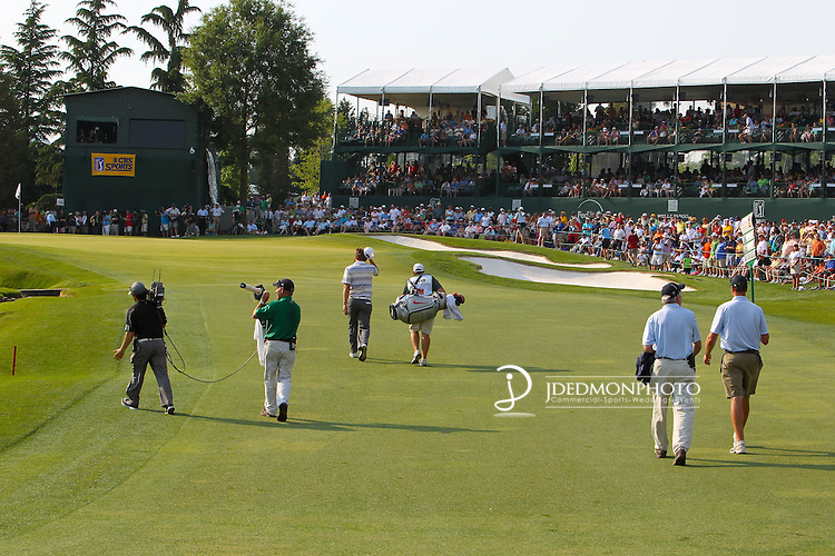 May 8,2011 - Lucas Glover makes his way to the clubhouse gallery on 18 with the lead in hand.  Lucas Glover wins the tournament in sudden death over Jonathan Byrd at Quail Hollow Country Club,Charlotte,NC.
