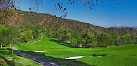 Beautiful open, Golf Course, Golfer in Fairway, Mountaingate, Brentwood, CA, Panorama