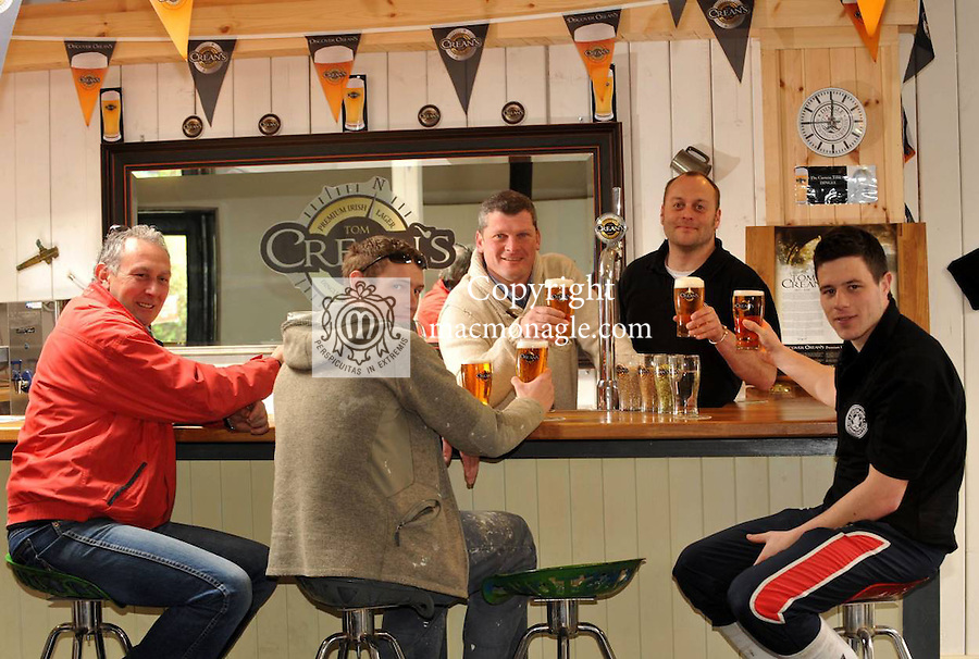"""6-4-2012: Enjoying a pint of 'Tom Crean's' in the Dingle Brewing Company on Good Friday in Dingle County Kerry are Gerry O""""Sullivan, Xavier Baker, James Thompson, Ged Daniloras and Seamus O'Connor..Picture by Don MacMonagle.Story by Majella O""""Sullivan"""