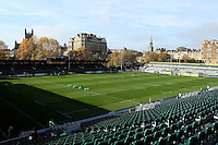 A general view of the Recreation Ground pitch prior to the match. Aviva Premiership match, between Bath Rugby and Harlequins on October 31, 2015 at the Recreation Ground in Bath, England. Photo by: Robbie Stephenson / JMP for Onside Images