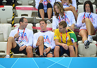 August 02, 2012..Top row: Amanda Weir, Kate Ziegler. Bottom row: Jason Lezak, Connor Dwyer and an RSA athlete at the Aquatics Center on day six of 2012 Olympic Games in London, United Kingdom.