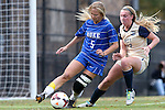 27 October 2013: Duke's Kaitlyn Kerr (5) and Pittsburgh's Siobhan McDonough (17). The Duke University Blue Devils hosted the Pittsburgh University Panthers at Koskinen Stadium in Durham, NC in a 2013 NCAA Division I Women's Soccer match. Duke won the game 6-3.