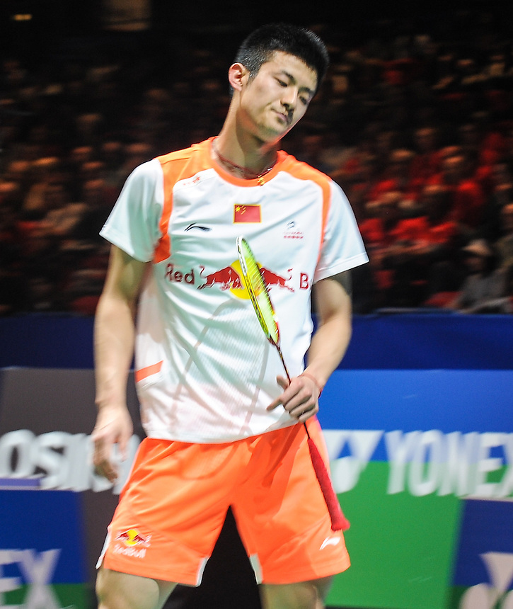 Long CHEN [2] [CHN] in action today during his victory over Kashyap PARUPALLI [IND] in their Men's singles Quarter final match. Long CHEN [2] [CHN] bt Kashyap PARUPALLI [IND] 21-16 21-10..BWF -  2013 Yonex All England Badminton Championships Super Series Premier - The National Indoor Arena - Birmingham - England - Friday 08th March 2013..© CameraSport - 43 Linden Ave. Countesthorpe. Leicester. England. LE8 5PG - Tel: +44 (0) 116 277 4147 - admin@camerasport.com - www.camerasport.com