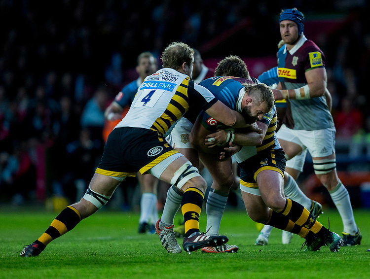 Harlequins' Joe Marler<br /> <br /> Photographer Bob Bradford/CameraSport<br /> <br /> Aviva Premiership - Harlequins v Wasps - Friday April 28 2017 - The Stoop - London<br /> <br /> World Copyright &copy; 2017 CameraSport. All rights reserved. 43 Linden Ave. Countesthorpe. Leicester. England. LE8 5PG - Tel: +44 (0) 116 277 4147 - admin@camerasport.com - www.camerasport.com