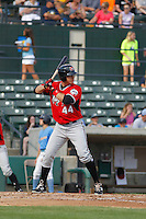 Carolina Mudcats first baseman Joey Meneses (44) at bat during game one of a doubleheader against the Myrtle Beach Pelicans at Ticketreturn.com Field at Pelicans Ballpark on June 6, 2015 in Myrtle Beach, South Carolina. Carolina defeated Myrtle Beach 1-0. (Robert Gurganus/Four Seam Images)