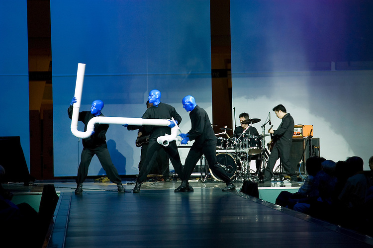 Blue Man entertainers in Las Vegas, Nevada, NV, Las Vegas, city, entertainment, entertainers, Fashion Show Retail Area, no model release, pipes, Photo nv294-18062..Copyright: Lee Foster, www.fostertravel.com, 510-549-2202,lee@fostertravel.com