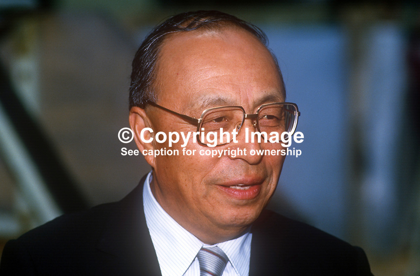 Toshio Yamazaki, Japanese ambassador to UK, photographed during visit to factory of Short Brothers Ltd, N Ireland, 1986, 19860509TY1<br />