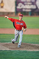 Orem Owlz starting pitcher Cole Duensing (34) delivers a pitch during a game against the Ogden Raptors at Lindquist Field on August 3, 2018 in Ogden, Utah. The Raptors defeated the Owlz 9-4. (Stephen Smith/Four Seam Images)