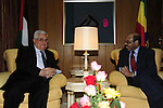 Palestinian President Mahmoud Abbas (Abu Mazen) during a meeting with the Prime Minister of Ethiopia, in the Ethiopian capital Addis Ababa on July 7,2010. Photo by Omar Rashidi