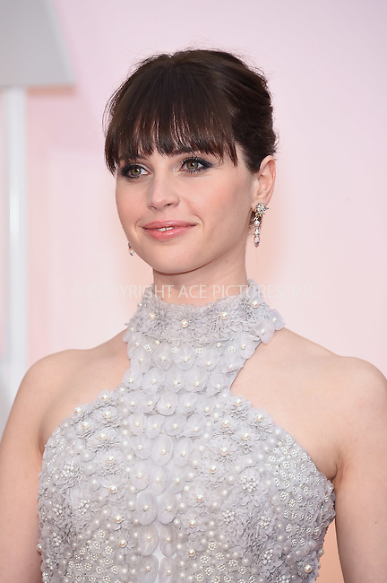 WWW.ACEPIXS.COM<br /> <br /> February 22 2015, LA<br /> <br /> Felicity Jones arriving at the 87th Annual Academy Awards at the Hollywood &amp; Highland Center on February 22, 2015 in Hollywood, California<br /> <br /> <br /> By Line: Z15/ACE Pictures<br /> <br /> <br /> ACE Pictures, Inc.<br /> tel: 646 769 0430<br /> Email: info@acepixs.com<br /> www.acepixs.com