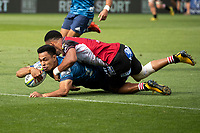 March 14th 2020, Eden Park, Auckland, New Zealand;  Blues Stephen Perofeta scores a try during the Super Rugby match between the Blues and the Lions, held at Eden Park, Auckland, New Zealand.