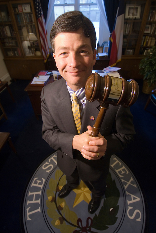 "Rep. Jeb Hensarling, R-Texas, holds the gavel he had commissioned for the Republican Study Committee in his office on Wednesday, Jan. 17, 2007. Made from ""Texas sturdy oak,"" according to Hensarling, the gavel was passed to the new chairman of the committee, Rep. Mike Pence, R-Ind., on Jan. 10, 2007."