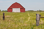 Red corrugated barn in a green field