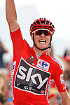 Race leader Christopher Froome (GBR) Team Sky wins Stage 9 of the 2017 La Vuelta, running 174km from Orihuela Ciudad del Poeta Miguel Hernandez to Cumbre del Sol, El Poble Nou de Benitatxell, Spain. 27th August 2017.<br /> Picture: Unipublic/&copy;photogomezsport | Cyclefile<br /> <br /> <br /> All photos usage must carry mandatory copyright credit (&copy; Cyclefile | Unipublic/&copy;photogomezsport)