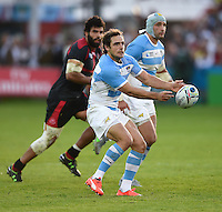 Nicolas Sanchez of Argentina passes the ball. Rugby World Cup Pool C match between Argentina and Georgia on September 25, 2015 at Kingsholm Stadium in Gloucester, England. Photo by: Patrick Khachfe / Onside Images