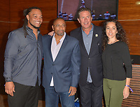 MIAMI GARDENS, FL - DECEMBER 02: Channing Crowder, Guest, Dan Marino and Guest attend The Miami Dolphins 'Hall of Fame Celebration' hosting Jason Taylor at Hard Rock Stadium on December 02, 2017 in Miami Gardens, Florida. Credit: MPI10 / MediaPunch