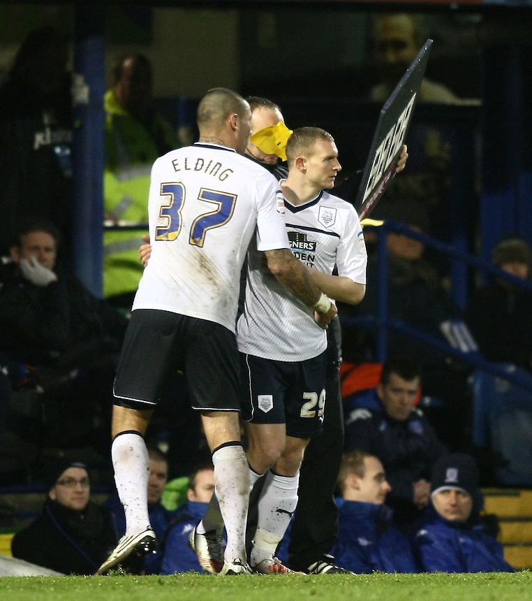 Preston North End Anthony Elding is substituted by Preston North End's Stuart Beavon ..Football - npower Football League Division One - Portsmouth v Preston North End - Saturday 15th December 2012 - Fratton Park - Portsmouth..