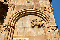 picture &amp; image of exterior stone work decorations of the Samtavisi Georgian Orthodox Cathedral, 11th century, Shida Karti Region, Georgia (country)<br /> <br /> Built during the so called 10-11th century &ldquo;Georgian Golden Era&rdquo; Samtavisi cathedral is a built in classical Georgian style of the period. Layout on a cruciform ground plan with a high central cylindrical central cupola.