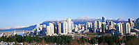 "City of Vancouver Skyline and Downtown at Yaletown and ""False Creek"", BC, British Columbia, Canada, in Spring.  The North Shore Mountains (Coast Mountains) rise above the City. - Panoramic View"