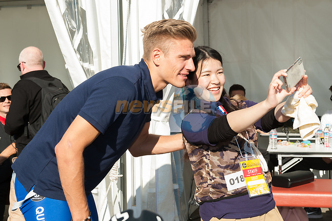 Marcel Kittel (GER) Quick-Step Floors introduced to the crowd before the Tour de France Saitama Crit&eacute;rium 2017 held around the streets os Saitama, Japan. 3rd November 2017.<br /> Picture: ASO/Pauline Ballet | Cyclefile<br /> <br /> <br /> All photos usage must carry mandatory copyright credit (&copy; Cyclefile | ASO/Pauline Ballet)
