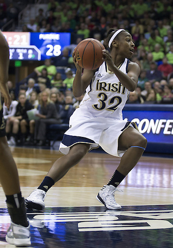 December 29, 2012:  Notre Dame guard Jewell Loyd (32) during NCAA Women's Basketball game action between the Notre Dame Fighting Irish and the Purdue Boilermakers at Purcell Pavilion at the Joyce Center in South Bend, Indiana.  Notre Dame defeated Purdue 74-47.