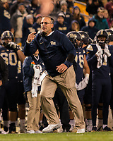 Pitt head coach Pat Narduzzi. The Virginia Tech Hokies defeated the Pitt Panthers 39-36 on October 27, 2016 at Heinz Field in Pittsburgh, Pennsylvania.