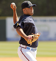 April 9, 2009: Jose Ortegano of the Myrtle Beach Pelicans, Class A affiliate of the Atlanta Braves, on 2009 opening day at BB&T Coastal Field in Myrtle Beach, S.C. Photo by:  Tom Priddy/Four Seam Images