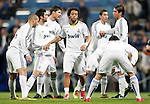 Real Madrid's Marcelo, Raul Albiol, Karim Benzema, Xabi Alonso, and Sergio Ramos shake hands before La Liga match. January 09, 2011. (ALTERPHOTOS/Alvaro Hernandez).