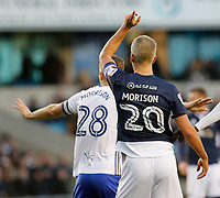 2 Morrisons on show with Steve Morison of Millwall and Michael Morrison of Birmingham City during the Sky Bet Championship match between Millwall and Birmingham City at The Den, London, England on 21 October 2017. Photo by Carlton Myrie.