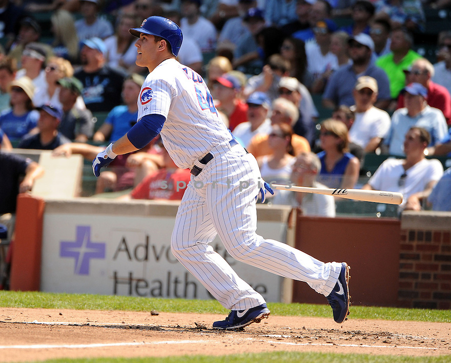 ANTHONY RIZZO (44) of the Chicago Cubs, in action during the Cubs game against the Milwaukee Brewers on August 30, 2012 at Wrigley Field in Chicago, IL. The Cubs beat the Brewers 12-11.