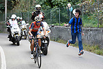 Vincenzo Nibali (ITA) Bahrain-Merida in the lead on the run into Como during the 111th edition of Il Lombardia 2017 &quot; The Race of the Falling Leaves&quot; the final monument of the season, running 247km from Bergamo to Como, Italy. 7th October 2017.<br /> Picture: LaPresse/Fabio Ferrari | Cyclefile<br /> <br /> <br /> All photos usage must carry mandatory copyright credit (&copy; Cyclefile | LaPresse/Fabio Ferrari)