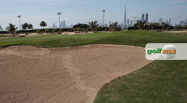 9th green bunker, The Track at The Meydan Golf Club, Dubai, United Arab Emirates.  31/01/2016. Picture: Golffile | David Lloyd<br /> <br /> All photos usage must carry mandatory copyright credit (&copy; Golffile | David Lloyd)