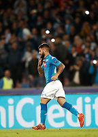Football Soccer: UEFA Champions League Napoli vs Mabchester City San Paolo stadium Naples, Italy, November 1, 2017. <br /> Napoli's Lorenzo Insigne celebrates after scoring during the Uefa Champions League football soccer match between Napoli and Manchester City at San Paolo stadium, November 1, 2017.<br /> UPDATE IMAGES PRESS/Isabella Bonotto