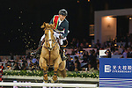 Team Flames: Rider Simon Delestre of France and Jockey Derek Leung of China compete during the Hong Kong Jockey Club Race of the Riders, part of the Longines Masters of Hong Kong on 10 February 2017 at the Asia World Expo in Hong Kong, China. Photo by Juan Serrano / Power Sport Images