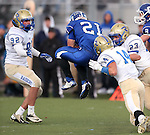 Carson's Colby Brown makes a reception against Reed in the final seconds of the NIAA D-1 Northern Regional title game at Bishop Manogue High School in Reno, Nev., on Saturday, Nov. 29, 2014. Reed won 28-25.<br /> Photo by Cathleen Allison