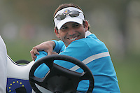 Sergio Garcia site it out with a smile on his face on the 1st hole in Saturday foursomes at the 37th Ryder Cup at Valhalla Golf Club, Louisville, Kentucky, USA - 20th September 2008 (Photo by Manus O'Reilly/GOLFFILE)