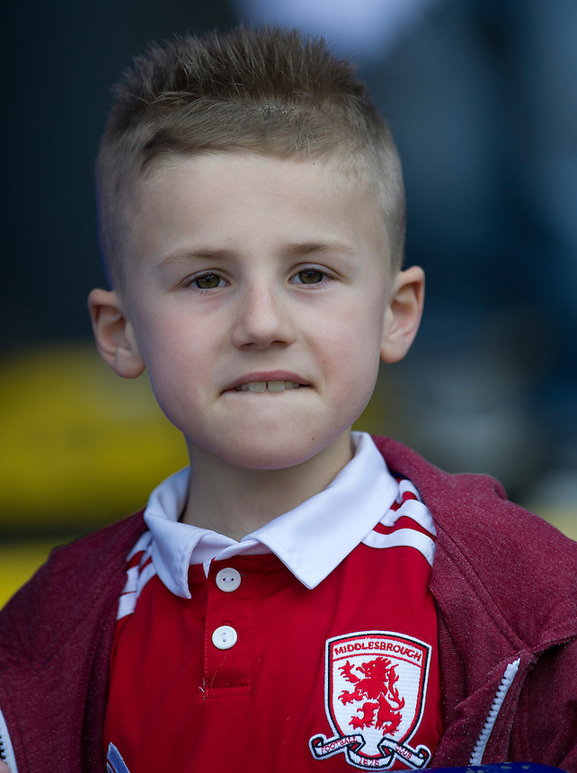 A young Middlesbrough fan.. - (Photo by Stephen White/CameraSport) - ..Football - npower Football League Championship - Bolton Wanderers v Middlesbrough - Saturday 20th April 2013 - Reebok Stadium - Bolton..© CameraSport - 43 Linden Ave. Countesthorpe. Leicester. England. LE8 5PG - Tel: +44 (0) 116 277 4147 - admin@camerasport.com - www.camerasport.com