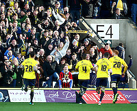 Oxford fans celebrate Kemar Roofe of Oxford United goal  during the Emirates FA Cup 3rd Round between Oxford United v Swansea     played at Kassam Stadium  on 10th January 2016 in Oxford