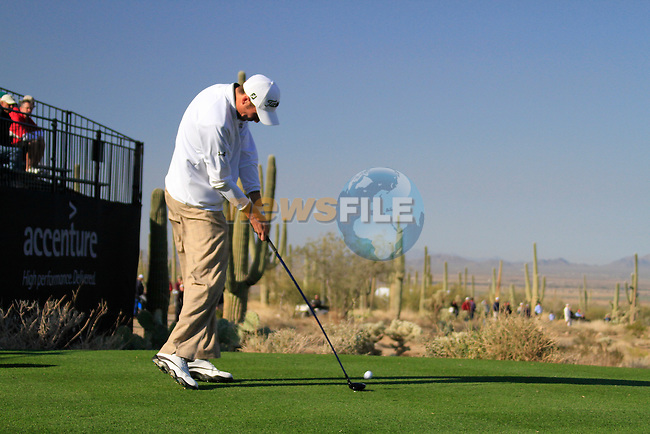 Ross Fisher tees off on the 1st tee during Day 2 of the Accenture Match Play Championship from The Ritz-Carlton Golf Club, Dove Mountain. (Photo Eoin Clarke/Golffile 2011)