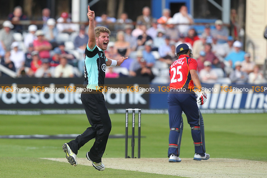 Stuart Meaker of Surrey appeals for the wicket of Ravi Bopara - Essex Eagles vs Surrey Lions - Yorkshire Bank YB40 Cricket at the Essex County Ground, Chelmsford - 03/06/13 - MANDATORY CREDIT: Gavin Ellis/TGSPHOTO - Self billing applies where appropriate - 0845 094 6026 - contact@tgsphoto.co.uk - NO UNPAID USE