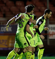 Exeter City's Jordan Moore-Taylor is congratulated for his goal during the Sky Bet League 2 match between Crawley Town and Exeter City at Broadfield Stadium, Crawley, England on 28 February 2017. Photo by Carlton Myrie / PRiME Media Images.