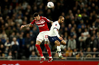 14th January 2020; Tottenham Hotspur Stadium, London, England; English FA Cup Football, Tottenham Hotspur versus Middlesbrough; Lucas of Tottenham Hotspur competes for the ball with Marvin Johnso of Middlesbrough - Strictly Editorial Use Only. No use with unauthorized audio, video, data, fixture lists, club/league logos or 'live' services. Online in-match use limited to 120 images, no video emulation. No use in betting, games or single club/league/player publications