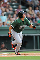 Right fielder Dylan Davis (28) of the Augusta GreenJackets bats in a game against the Greenville Drive on Thursday, June 11, 2015, at Fluor Field at the West End in Greenville, South Carolina. Greenville won, 10-1. (Tom Priddy/Four Seam Images)
