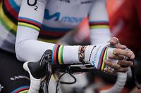 World Champion Alejandro Valverde (ESP/Movistar) with a 'mini-me bike' bracelet at the race start in Ans<br /> <br /> 83rd La Flèche Wallonne 2019 (1.UWT)<br /> One day race from Ans to Mur de Huy (BEL/195km)<br /> <br /> ©kramon