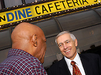 PHILADELPHIA - NOVEMBER 19: Yusuf Mohammed (L), of Philadelphia, speaks with Democratic Presidential Candidate General Wesley Clark after they shared breakfast together at the Harvest Vine November 19, 2003 in Philadelphia, Pennsylvania. Clark is stumping for votes over the next four days in Pennsylvania, New York, South Carolina, and North Dakota. (Photo by William Thomas Cain/Getty Images)