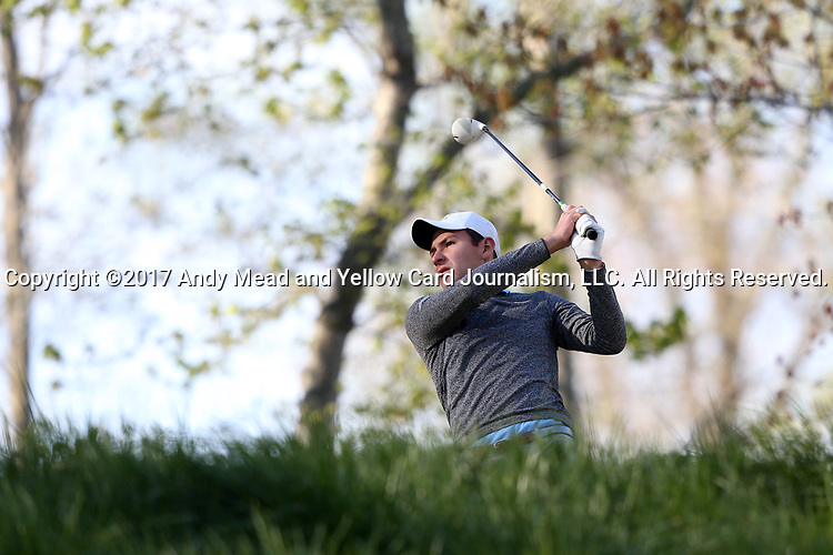 KANNAPOLIS, NC - APRIL 09: North Carolina's Jose Montano (BOL) tees off on the 10th hole. The third round of the Irish Creek Intercollegiate Men's Golf Tournament was held on April 9, 2017, at the The Club at Irish Creek in Kannapolis, NC.